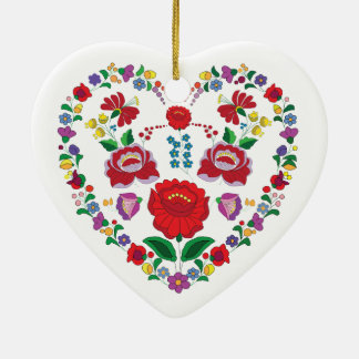 Kalocsa Embroidery Heart Ornament