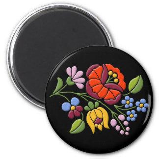 Kalocsa Embroidery - Hungarian Folk Art black bg. 6 Cm Round Magnet