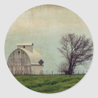 Kalona Iowa Fields and Barn With Tree Classic Round Sticker