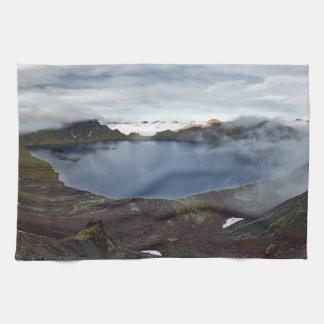Kamchatka mountain landscape: volcanic lake hand towels