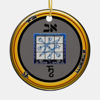 kamea saturn talisman round ceramic decoration