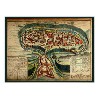 Kamianets Podilskyi Map 1691 Poster