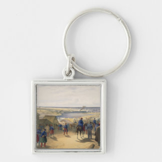 Kamiesch, plate from 'The Seat of War in the East' Silver-Colored Square Key Ring