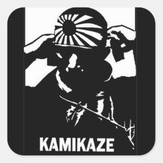 Kamikaze Black and White Japanese Pilot Square Stickers