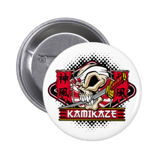 Kamikaze Skull With Japanese Sword 6 Cm Round Badge