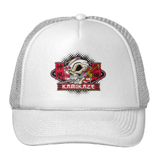 Kamikaze Skull With Japanese Sword Mesh Hats