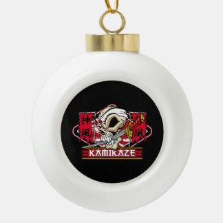 Kamikaze Skull With Japanese Sword Ceramic Ball Decoration