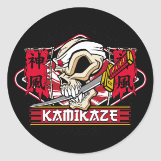 Kamikaze Skull With Japanese Sword Classic Round Sticker