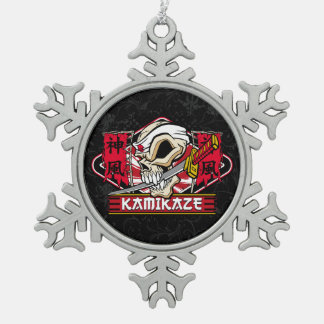 Kamikaze Skull With Japanese Sword Pewter Snowflake Decoration
