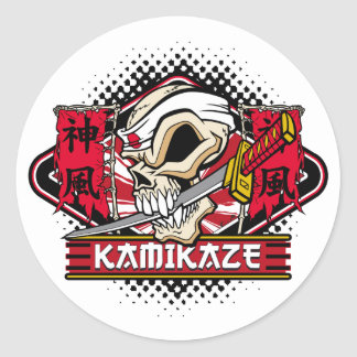 Kamikaze Skull With Japanese Sword Round Sticker
