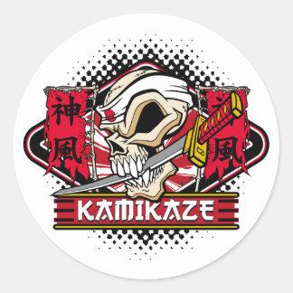 Kamikaze Skull With Japanese Sword Round Sticker