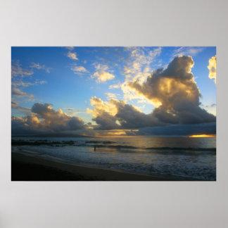 Kamole Beach Thunderstorm Sunset Posters