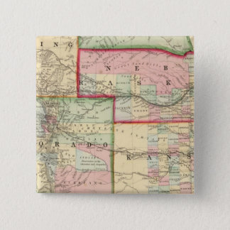 Kan, Neb, Colo Map by Mitchell 15 Cm Square Badge