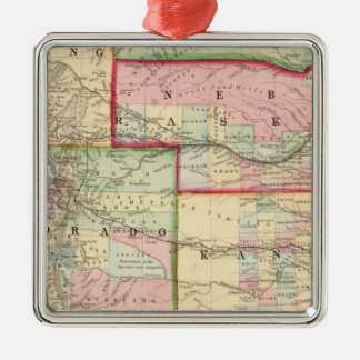 Kan, Neb, Colo Map by Mitchell Silver-Colored Square Decoration