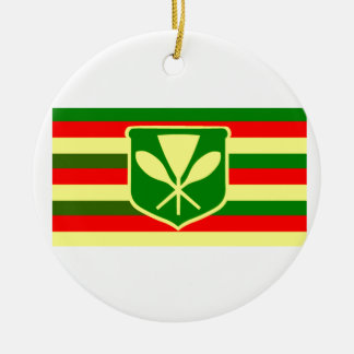 Kanaka Maoli - Native Hawaiian Flag Christmas Ornament