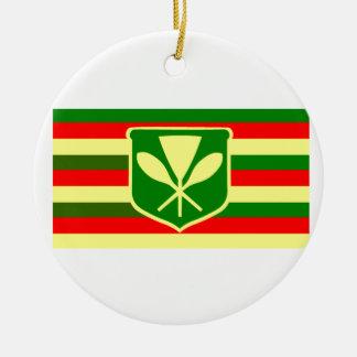 Kanaka Maoli - Native Hawaiian Flag Round Ceramic Decoration