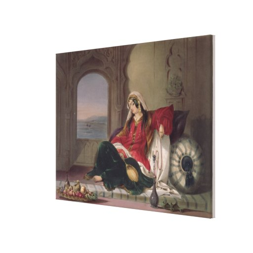 Kandahar Lady of Rank, Engaged in Smoking, plate 2 Stretched Canvas Print