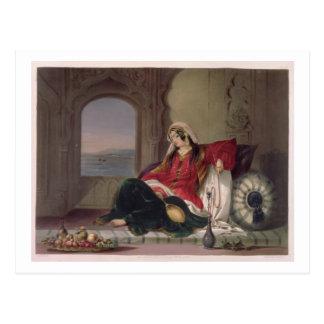 Kandahar Lady of Rank, Engaged in Smoking, plate 2 Postcard