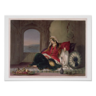 Kandahar Lady of Rank, Engaged in Smoking, plate 2 Poster