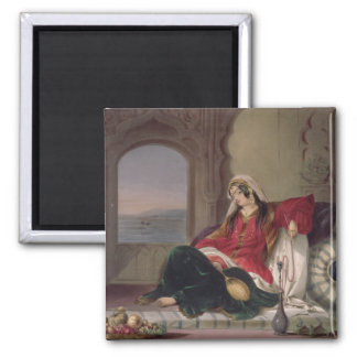 Kandahar Lady of Rank, Engaged in Smoking, plate 2 Square Magnet