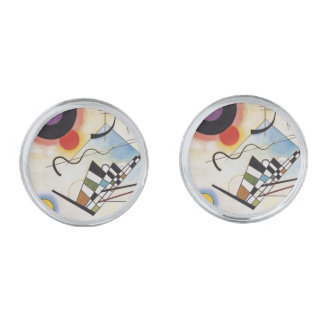 Kandinsky 1923/composition viii/pixdezines silver finish cuff links