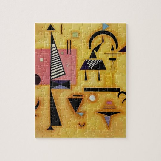 Kandinsky Abstract Decisive Pink Geometric Shapes Jigsaw Puzzle