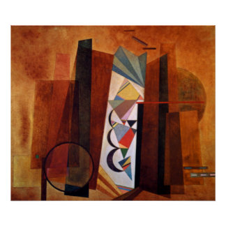 Kandinsky Development in Brown Abstract Artwork Poster