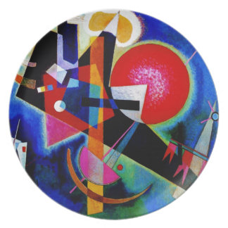 Kandinsky in Blue Abstract Painting Plate