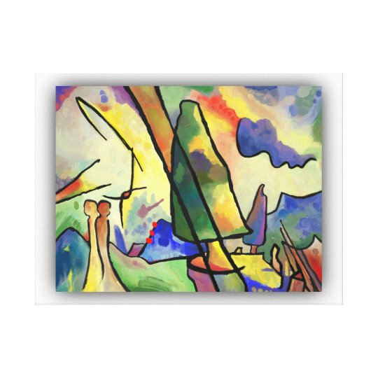 Kandinsky inspired abstract landscape and a couple canvas