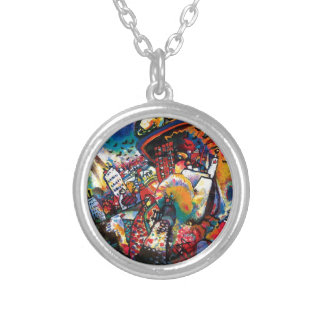 Kandinsky Moscow Cityscape Abstract Round Pendant Necklace