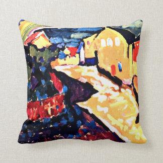 Kandinsky - Murnau with Rainbow, landscape art Cushion