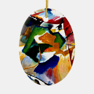 Kandinsky - Painting with Green Center Ceramic Oval Decoration