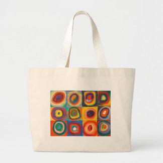 Kandinsky Squares Concentric Circles Jumbo Tote Bag
