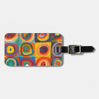 Kandinsky Squares Concentric Circles Luggage Tag