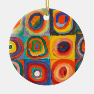 Kandinsky Squares Concentric Circles Round Ceramic Decoration