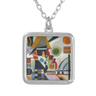 Kandinsky's Abstract Painting Swinging Silver Plated Necklace