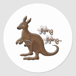 Kangaroo and Baby Kangaroo in Pouch Stickers