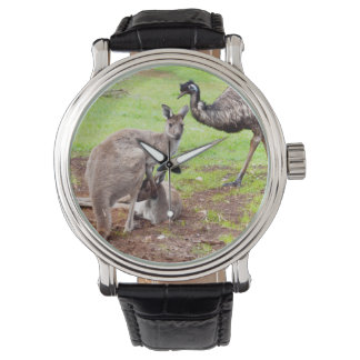 Kangaroo And Emu, Mens Big Face Leather Watch