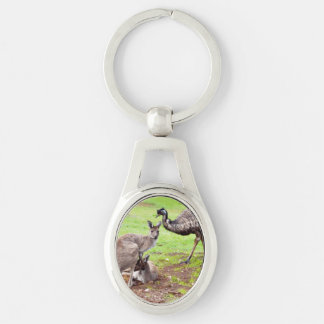 Kangaroo And Emu Metal Silver Oval Keyring