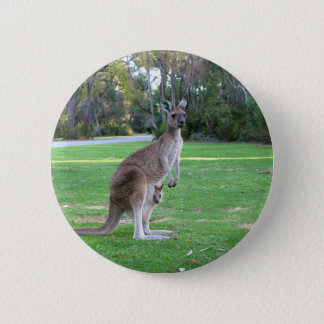 Kangaroo and Joey 6 Cm Round Badge