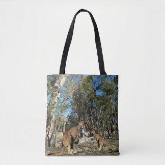 Kangaroo_And_Joey_Talk_Time_Fullprint_Shopping_Bag Tote Bag