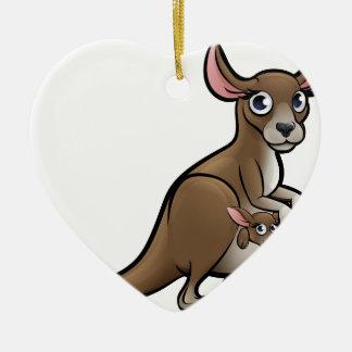 Kangaroo Animals Cartoon Character Ceramic Heart Decoration