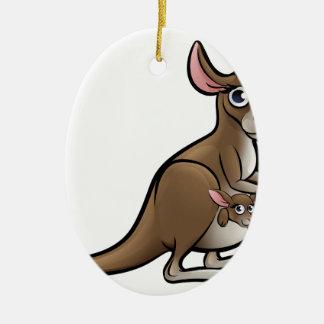 Kangaroo Animals Cartoon Character Ceramic Oval Decoration