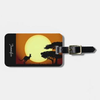 Kangaroo at sunset bag tag