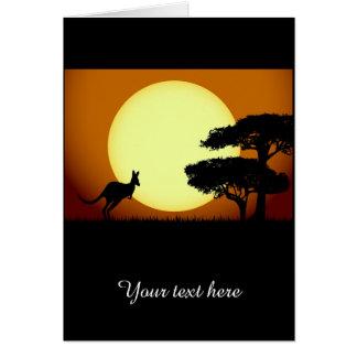 Kangaroo at sunset card