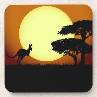 Kangaroo at sunset coaster
