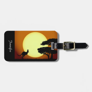 Kangaroo at sunset luggage tag