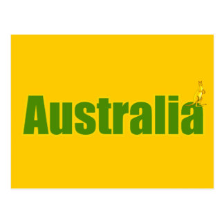 kangaroo australia logo yellow and green gifts postcard