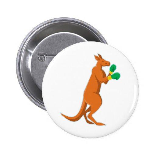 kangaroo boxer boxing retro buttons