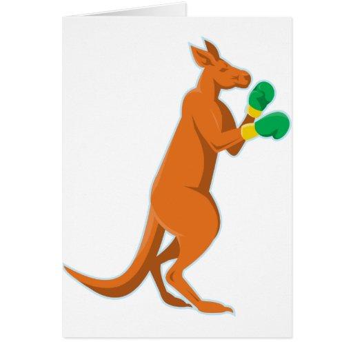 kangaroo boxer boxing retro greeting cards